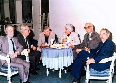 With Emil Galip Sandalcı, Melih Cevdet Anday, Tului Sönmez, Aziz Nesin and Merih Sezen at 30th anniversary of ONK Agency (1989)